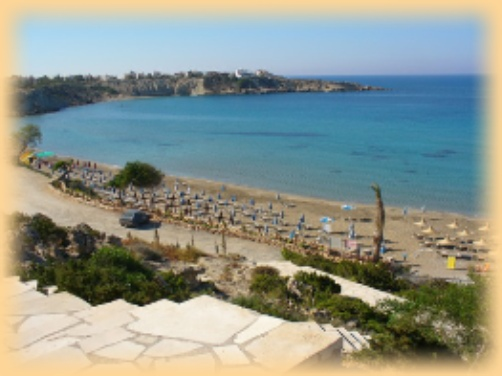 The above is a picture of Coral Bay Beach in Cyprus early morning